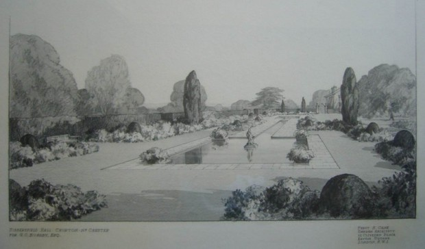 Drawing of Sibbersfield Hall garden by Percy Cane
