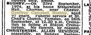 Announcement of Geoffrey Bushby's death from The Times, 1974