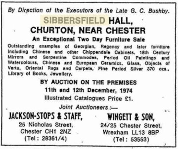 Advert for auction of the contents of the Hall from The Times, 1974
