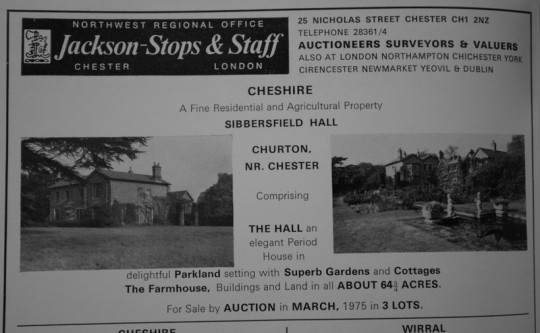 Advert for sale of Sibbersfield estate from The Times, 1975
